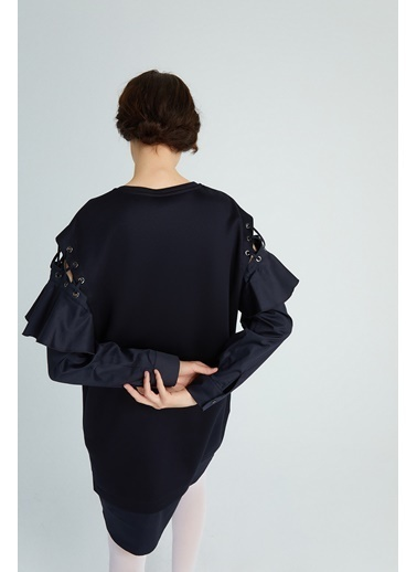 Rue Volanlı Kol Detaylı Mini Elbise Siyah
